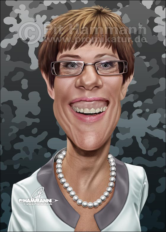 Annegret Kramp-Karrenbauer Karikatur | digitale Illustration