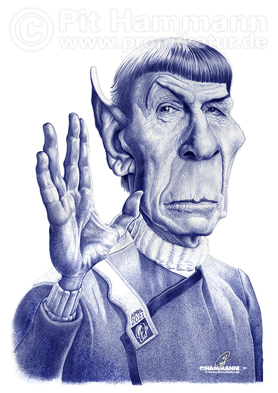 Leonard Nimoy als Spock Karikatur | digitale Illustration