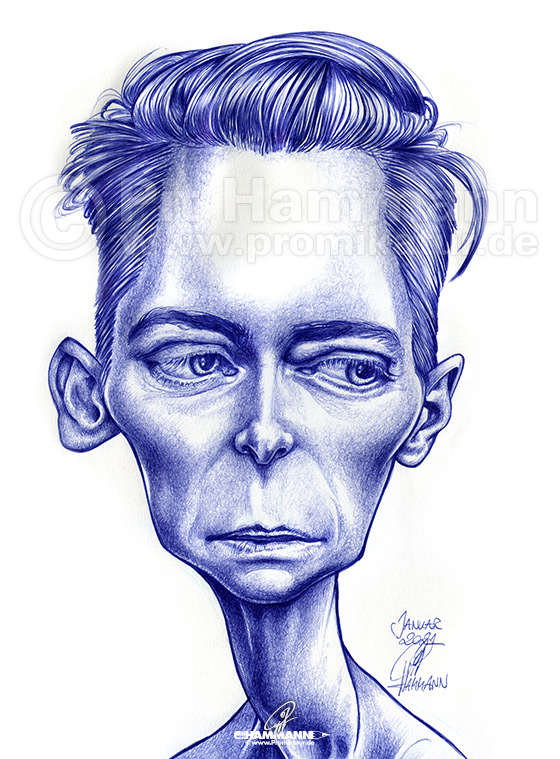 Tilda Swinton Karikatur | digitale Illustration