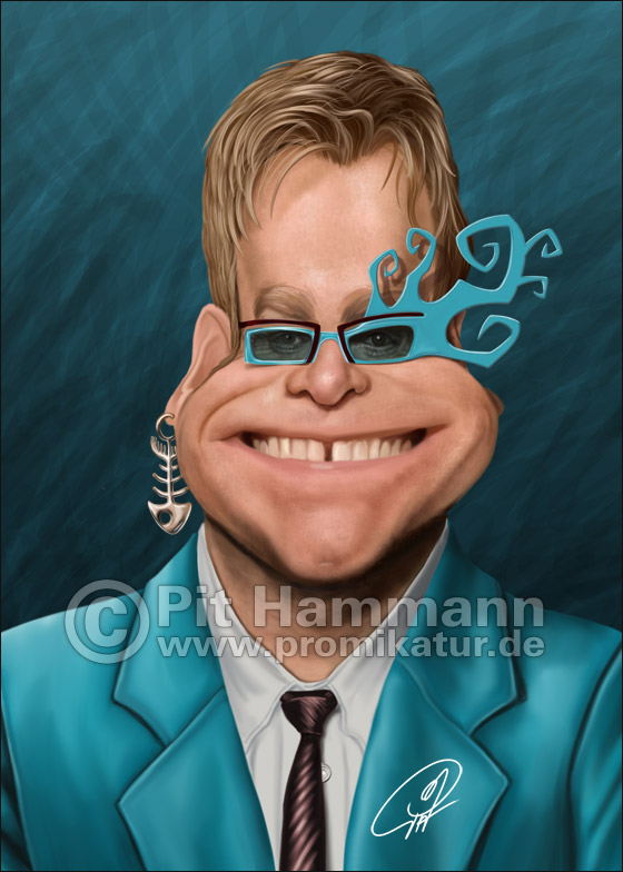 Elton John Karikatur | digitale Illustration