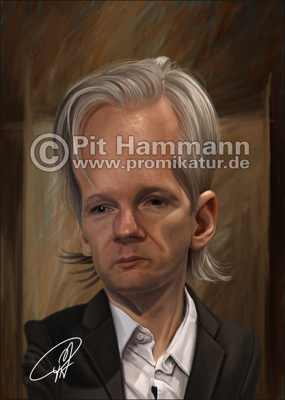 Julian Assange Karikatur | digitale Illustration