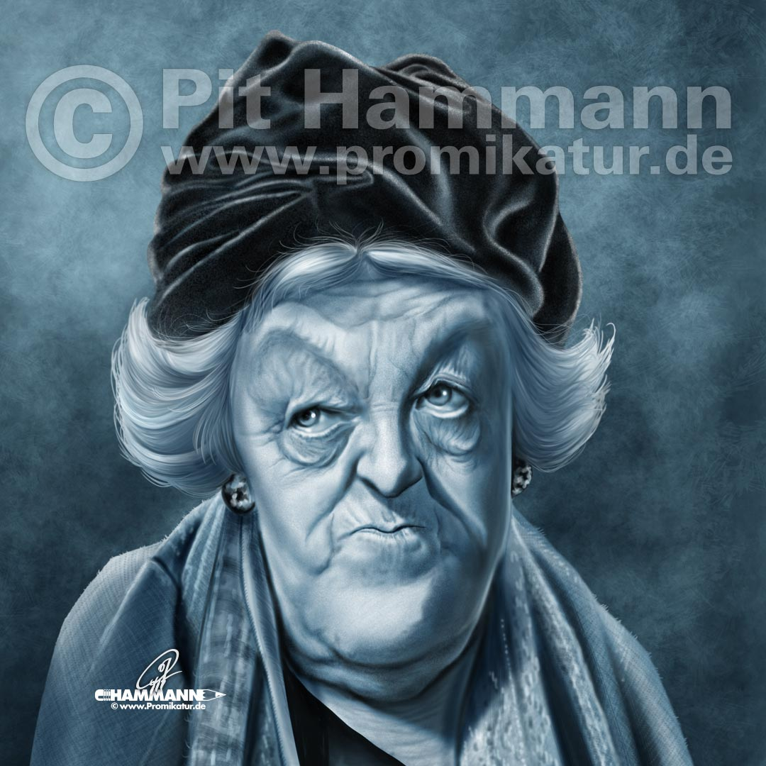 Karikatur Margaret Rutherford | digitale Illustration