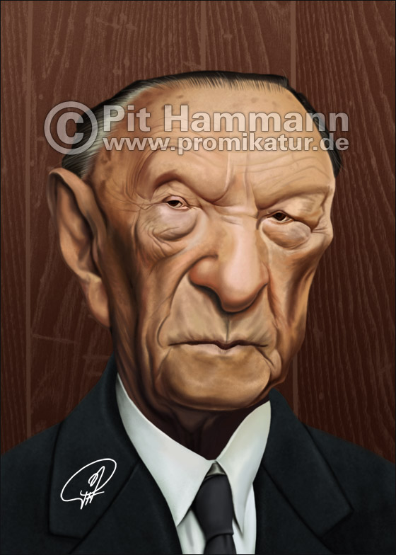 Konrad Adenauer Karikatur | digitale Illustration