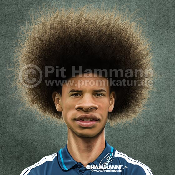 Leroy Sané Karikatur | digitale Illustration