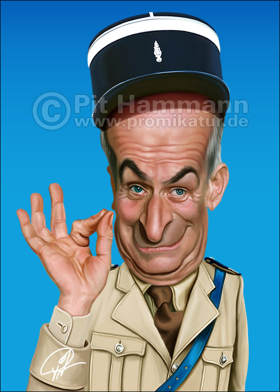 Karikatur Louis de Funes | digitale Illustration