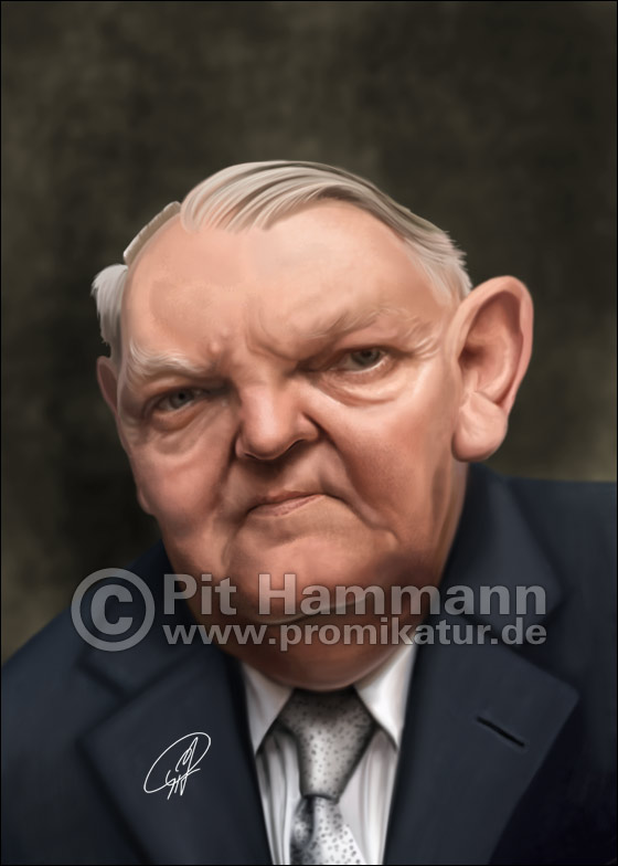 Ludwig Erhard Karikatur | digitale Illustration