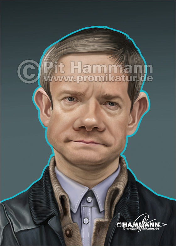Karikatur Martin Freeman | digitale Illustration