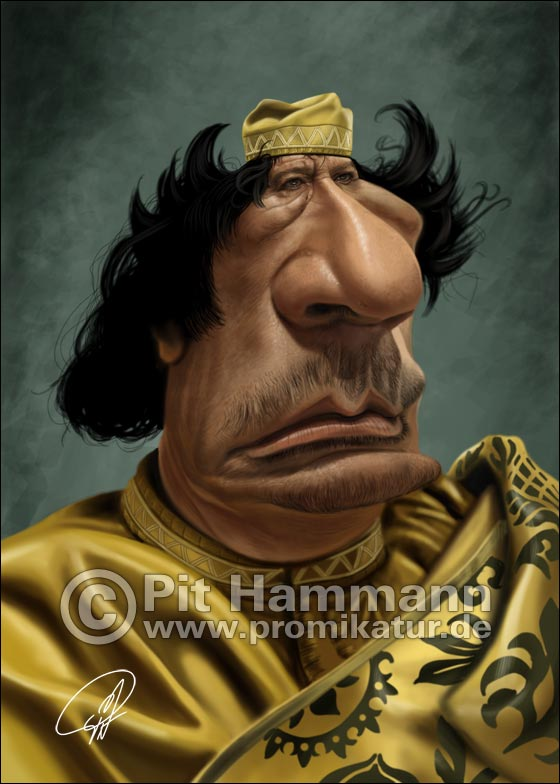 Muammar al-Gaddafi Karikatur | digitale Illustration