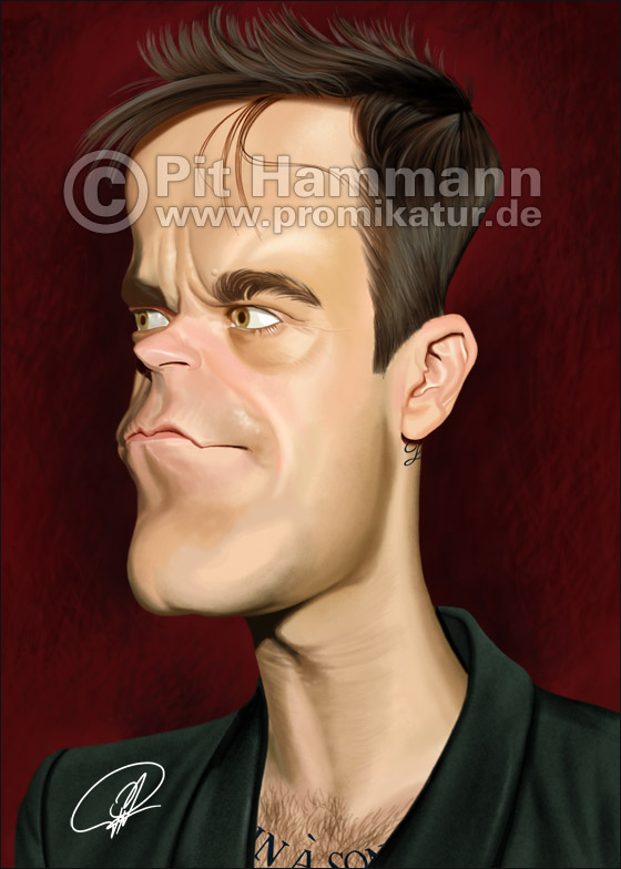 Robbie Williams Karikatur | digitale Illustration