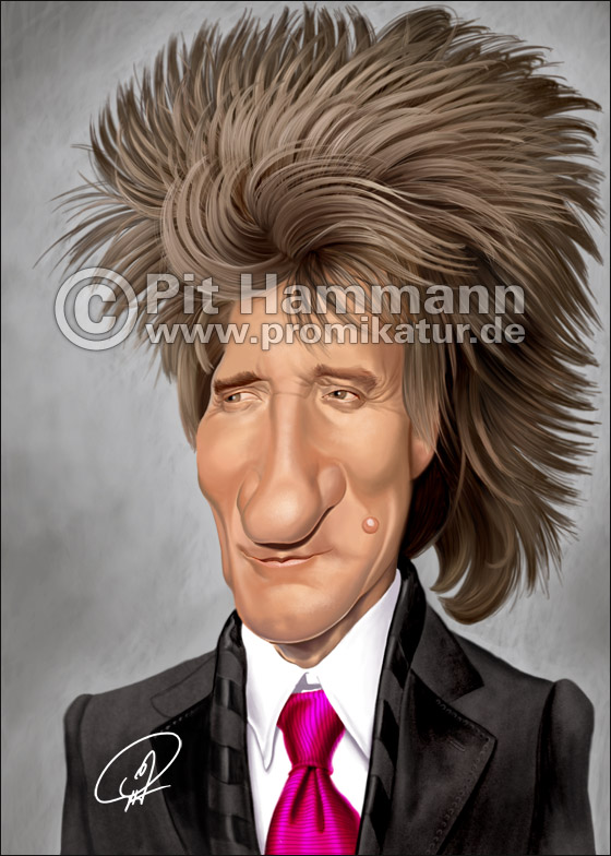 Rod Stewart Karikatur | digitale Illustration
